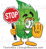 Stock Vector Mascot Cartoon of a Leaf Mascot Holding a Stop Sign by Toons4Biz