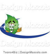 Stock Vector Mascot Cartoon of a Leaf Mascot Logo with a Blue Dash by Toons4Biz