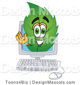Stock Vector Mascot Cartoon of a Leaf Mascot on a Computer Screen by Toons4Biz