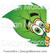 Stock Vector Mascot Cartoon of a Leaf Mascot Peeking Around a Corner by Toons4Biz