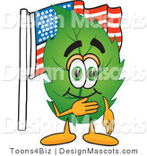 Stock Vector Mascot Cartoon of a Leaf Mascot Pledging Allegiance to an American Flag by Toons4Biz