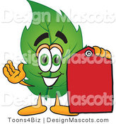 Stock Vector Mascot Cartoon of a Leaf Mascot Red Clearance Sales Price Tag by Toons4Biz