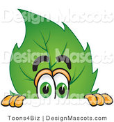 Stock Vector Mascot Cartoon of a Leaf Mascot Scared and Peeking over a Surface by Toons4Biz