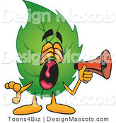 Stock Vector Mascot Cartoon of a Leaf Mascot Screaming into a Megaphone by Toons4Biz