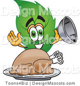 Stock Vector Mascot Cartoon of a Leaf Mascot Serving a Thanksgiving Turkey on a Platter by Toons4Biz