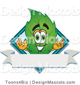 Stock Vector Mascot Cartoon of a Leaf Mascot with a Diamond and Blank Ribbon Label by Toons4Biz