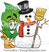 Stock Vector Mascot Cartoon of a Leaf Mascot with a Snowman on Christmas by Toons4Biz