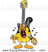 Stock Vector Mascot Cartoon of a Loud Guitar Mascot Cartoon Character Singing Loud into a Microphone by Toons4Biz