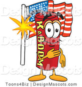 Stock Vector Mascot Cartoon of a Patriotic American Dynamite Mascot by Toons4Biz