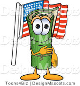 Stock Vector Mascot Cartoon of a Patriotic Green Carpet Mascot Cartoon Character Pledging Allegiance to the American Flag by Toons4Biz