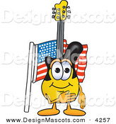 Stock Vector Mascot Cartoon of a Patriotic Guitar Mascot Cartoon Character Pledging Allegiance to an American Flag by Toons4Biz