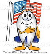 Stock Vector Mascot Cartoon of a Patriotic White Blimp Mascot Cartoon Character Pledging Allegiance to the American Flag by Toons4Biz