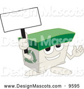 Stock Vector Mascot Cartoon of a Recycled Paper Box Mascot Holding a Blank Sign by Toons4Biz