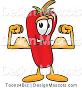 Stock Vector Mascot Cartoon of a Red Chili Pepper Flexing His Arm Muscles by Toons4Biz