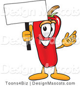 Stock Vector Mascot Cartoon of a Red Chili Pepper Holding a Blank White Sign by Toons4Biz