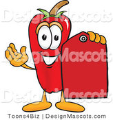 Stock Vector Mascot Cartoon of a Red Chili Pepper Holding a Red Price Tag by Toons4Biz
