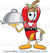 Stock Vector Mascot Cartoon of a Red Chili Pepper Holding a Serving Platter by Toons4Biz