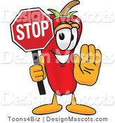 Stock Vector Mascot Cartoon of a Red Chili Pepper Holding a Stop Sign by Toons4Biz