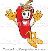 Stock Vector Mascot Cartoon of a Red Chili Pepper Jumping by Toons4Biz