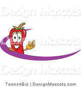 Stock Vector Mascot Cartoon of a Red Chili Pepper Logo with a Purple Dash by Toons4Biz