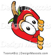 Stock Vector Mascot Cartoon of a Red Chili Pepper Peeking Around a Corner by Toons4Biz