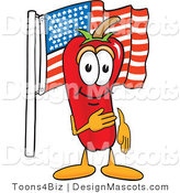 Stock Vector Mascot Cartoon of a Red Chili Pepper Pledging Allegiance to the American Flag by Toons4Biz