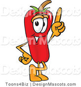 Stock Vector Mascot Cartoon of a Red Chili Pepper Pointing Upwards by Toons4Biz