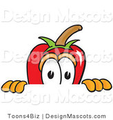 Stock Vector Mascot Cartoon of a Red Chili Pepper Scared, Peeking over a Surface by Toons4Biz