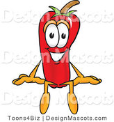 Stock Vector Mascot Cartoon of a Red Chili Pepper Sitting by Toons4Biz