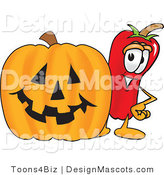 Stock Vector Mascot Cartoon of a Red Chili Pepper Standing with a Carved Halloween Pumpkin by Toons4Biz