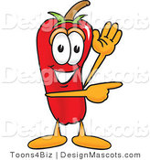 Stock Vector Mascot Cartoon of a Red Chili Pepper Waving and Pointing by Toons4Biz