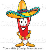 Stock Vector Mascot Cartoon of a Red Chili Pepper Wearing a Sombrero by Toons4Biz