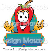 Stock Vector Mascot Cartoon of a Red Chili Pepper with a Blank Label by Toons4Biz