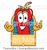 Stock Vector Mascot Cartoon of a Red Chili Pepper with a Blank Tan Label by Toons4Biz