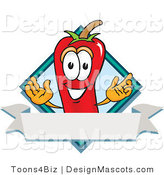 Stock Vector Mascot Cartoon of a Red Chili Pepper with a Blue Diamond and Blank Label by Toons4Biz