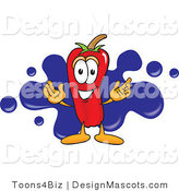 Stock Vector Mascot Cartoon of a Red Chili Pepper with a Blue Paint Splatter by Toons4Biz