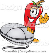 Stock Vector Mascot Cartoon of a Red Chili Pepper with a Computer Mouse by Toons4Biz