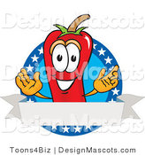 Stock Vector Mascot Cartoon of a Red Chili Pepper with an American Label by Toons4Biz