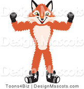 Stock Vector Mascot Cartoon of a Red Fox Flexing His Arm Muscles by Toons4Biz