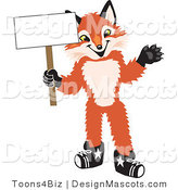 Stock Vector Mascot Cartoon of a Red Fox Holding a Blank White Sign by Toons4Biz