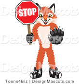 Stock Vector Mascot Cartoon of a Red Fox Holding a Stop Sign by Toons4Biz