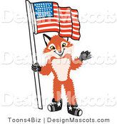 Stock Vector Mascot Cartoon of a Red Fox Holding an American Flag by Toons4Biz