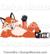 Stock Vector Mascot Cartoon of a Red Fox Lying on His Back and Waving by Toons4Biz