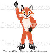 Stock Vector Mascot Cartoon of a Red Fox Mascot Cartoon Character Pointing Upwards by Toons4Biz