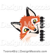 Stock Vector Mascot Cartoon of a Red Fox Peeking Around a Corner by Toons4Biz
