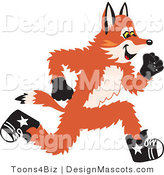 Stock Vector Mascot Cartoon of a Red Fox Running by Toons4Biz