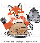 Stock Vector Mascot Cartoon of a Red Fox Serving a Thanksgiving Turkey on a Platter by Toons4Biz