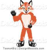 Stock Vector Mascot Cartoon of a Red Fox Waving by Toons4Biz