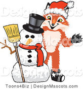 Stock Vector Mascot Cartoon of a Red Fox with a Snowman on Christmas by Toons4Biz