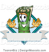Stock Vector Mascot Cartoon of a Rolled Green Carpet Mascot Cartoon Character with a Blank Label and a Blue Diamond by Toons4Biz